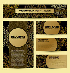 Corporate identity with gold mandala pattern vector