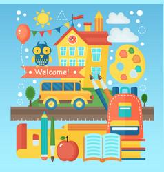 Back to school banner with school building bus vector