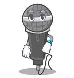 Waiting microphone cartoon character design vector
