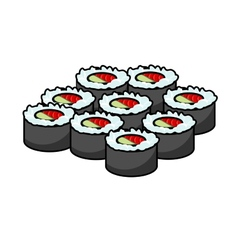 Serving of delicious seafood sushi vector