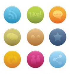 05 circle social media icons vector image
