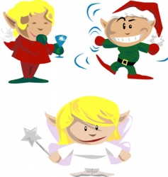 Christmas elves and pixies vector