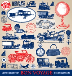 Vintage travel set vector