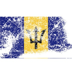 Flag of barbados with old texture vector