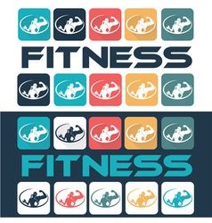 Man and woman of fitness silhouette character flat vector