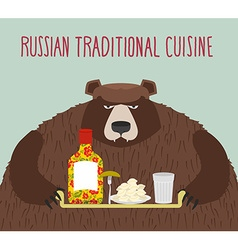Russian national cuisine bear with a tray of vector