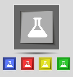 Conical flask icon sign on the original five vector
