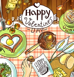 Beautiful festive breakfast for valentines day vector
