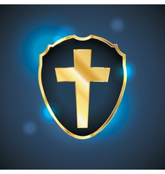 Golden blue cross shield vector