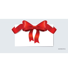 Cards with gift bow and shiny red ribbon vector