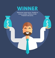 Flat design business businessman character winner vector