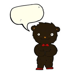 Cartoon little black bear with speech bubble vector