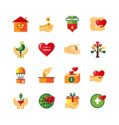 Charity symbols flat icons set vector
