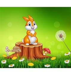Cute bunny on tree stump grass background vector