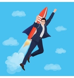 Happy businessman flying with rocket backpack vector