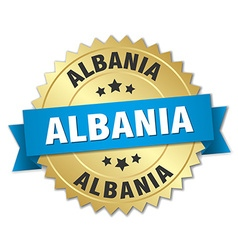 Albania round golden badge with blue ribbon vector