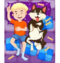 Boy sleeping with dog in bed vector