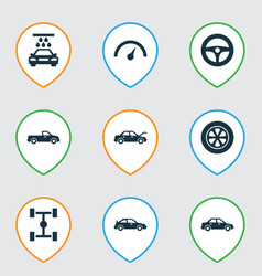 Car icons set collection of wheel transport vector