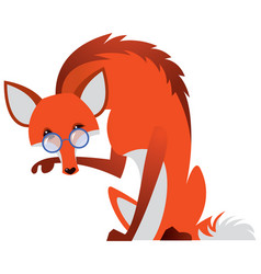 Cartoon fox with glasses vector