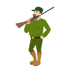 cartoon hunter green uniform hunting rifle vector image vector image