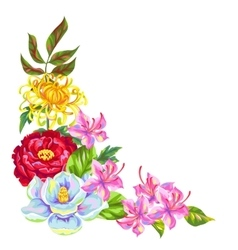 Decorative element with china flowers bright buds vector
