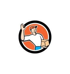 Delivery man okay sign parcel circle cartoon vector