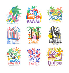Exotic summer vacation colorful logo vector