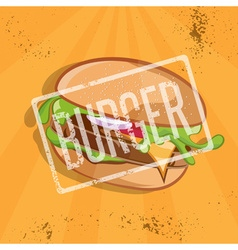 fast food with burger vector image vector image