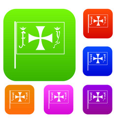 Flag of columbus set collection vector