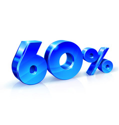 Glossy blue 60 sixty percent off sale isolated vector
