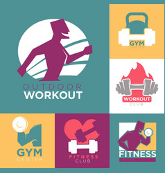 Gym and fitness club or workout sport center logo vector