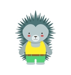 Hedgehog in yellow top and green pants cute toy vector