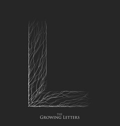 Letter l of branch or cracked alphabet l vector
