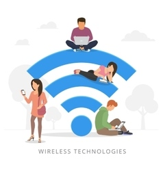 People with gadgets using wi-fi outdoors vector image vector image