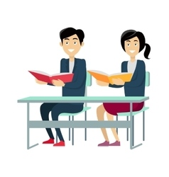 Pupils sitting at a school desk vector