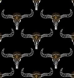 Seamless pattern background longhorn skull vector image
