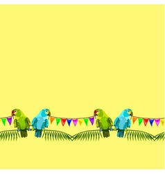 seamless pattern of two parrots with flags vector image