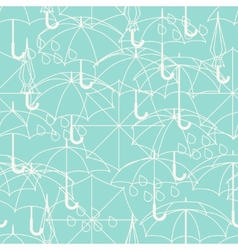 Seamless pattern with cute umbrellas in flat vector
