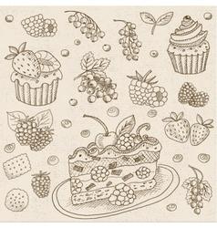 Set of chalk drawn on a blackboard food vector image