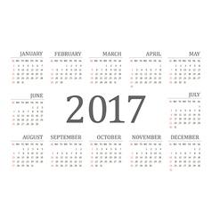 Simple 2017 year calendar vector image vector image
