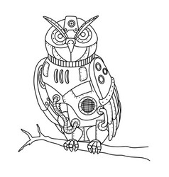 steampunk style owl coloring book vector image