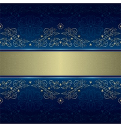 Template with gold floral seamless pattern on blue vector image vector image