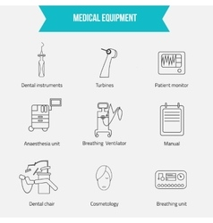 Thin lines web icon set - medicine equipment vector