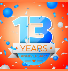 Thirteen years anniversary celebration vector