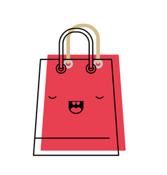 Trapezoid kawaii shopping bag icon with handle in vector