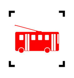 Trolleybus sign red icon inside black vector