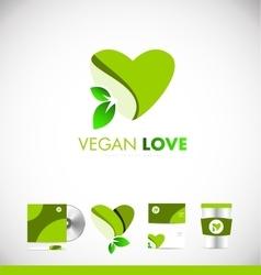 Vegan leaf green heart love logo icon design vector