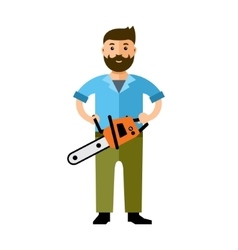 Woodcutter flat style colorful cartoon vector