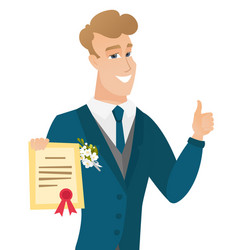 Young caucasian groom holding a certificate vector
