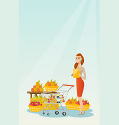 Young caucasian woman checking shopping list vector